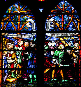 Chalons-en-Champagne Cathedral  The Passion Window, Pilate Washing His Hands and Christ Carrying The Cross