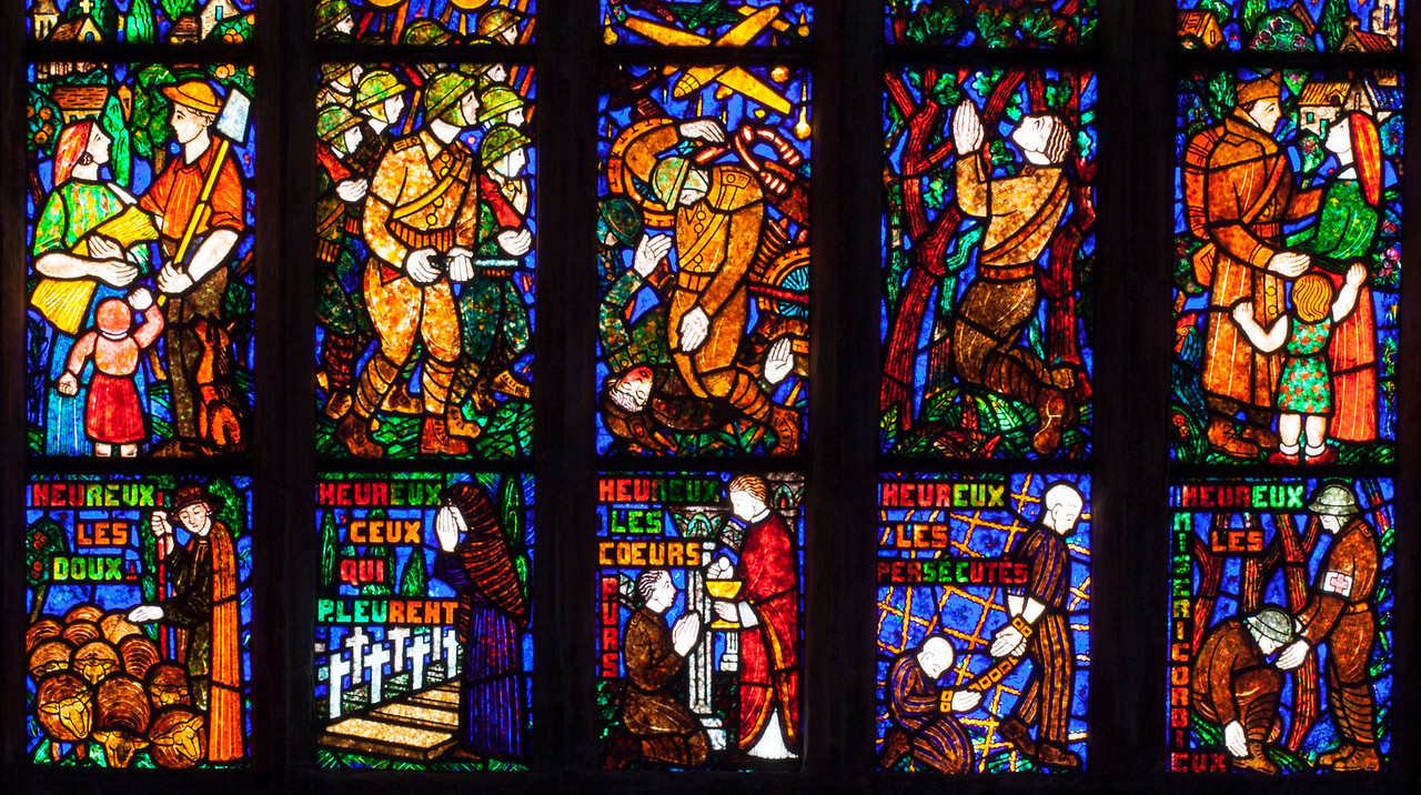 Etrapagny, Saint-Gervais-Saint-Protais World War II Commemoration Window - The Beatitudes