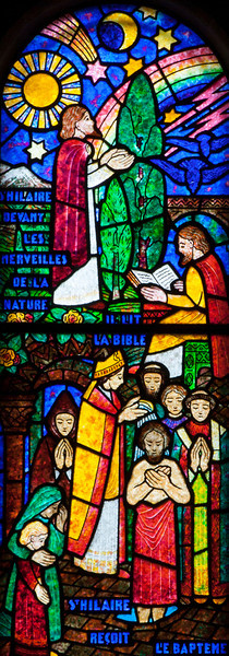 Muids, Eglise Saint-Hilaire -  Saint-Hilaire Performing a Baptism and Viewing the Miracles of Nature