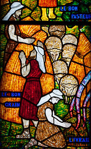 Muids, Eglise Saint-Hilaire - The Good Shepherd (detail)