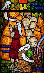 Muids, Eglise Saint-Hilaire - The Good Shepherd (detail)