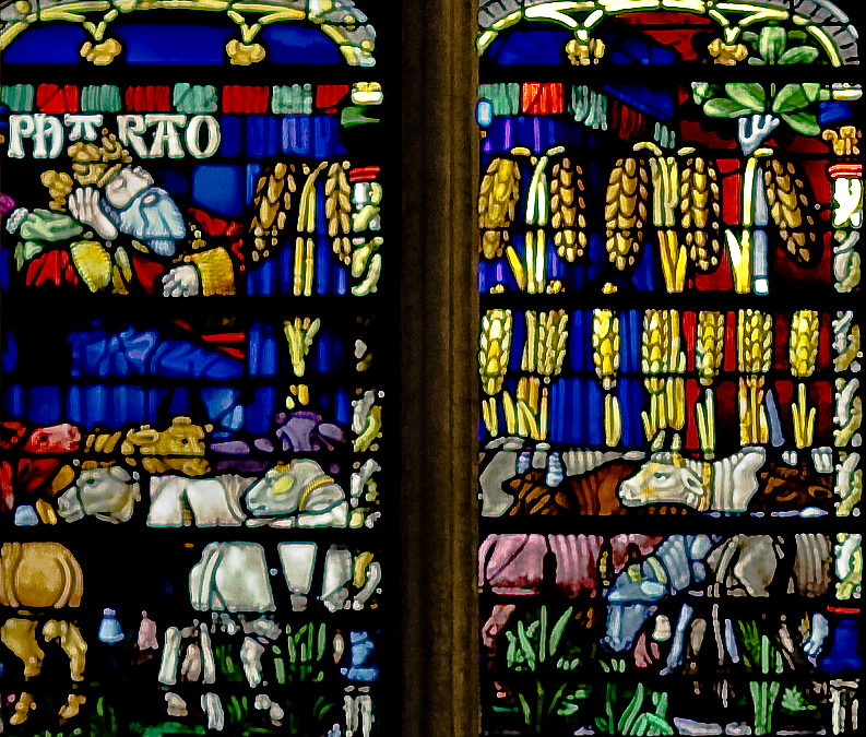 Troyes Saint Peter and Saint Paul Cathedral, The Story of Joseph Window,  Pharaoh Dreaming