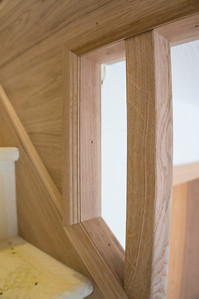 Completed stair parts in Oak.