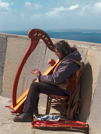 Harpist at Cliffs of Moher
