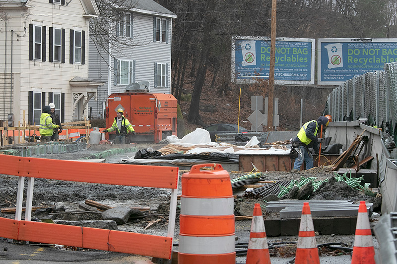 Work still goes on at the Bridge over the Phillips Brook on Westminster Street on Monday, March 30, 2020. SENTINEL & ENTERPRISE/JOHN LOVE