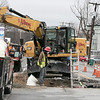 Doing some sewer work on Water Street in Fitchburg, March 30, 2020 is employees of P.J. Albert Inc. Paving & Excavating out of Fitchburg. This job was scheduled before the coronavirus emergency. SENTINEL & ENTERPRISE/JOHN LOVE