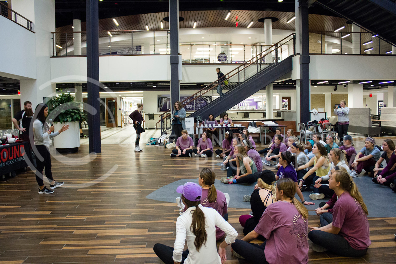 Melissa Vettel Talks about 9Round Fitness and their mission at the Stand up for your Sister fundraiser to Kick the Stigma of Mental Illness at the Union on Nov. 1, 2017. (Alex Shaw | Collegian Media Group)