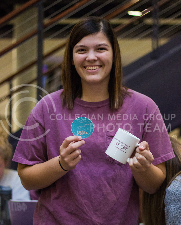Staci Gann, founder of non-profit organization Stand Up For Your Sister at the Student Union on November 2nd, 2017. (Kelly Pham | Collegian Media Group)