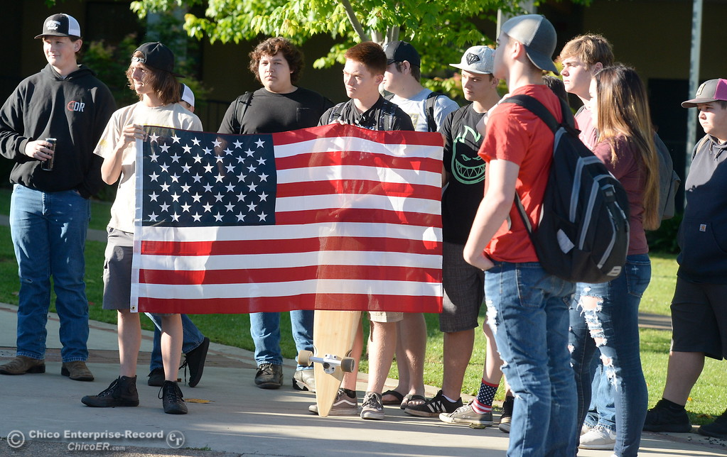 ". Approximately 20 students led by sophomores Mackenna Jarvis and Natasha Vose gather to discuss their feelings on our 2nd Amendment rights in front of Pleasant Valley High School in Chico, Calif. during a ""Stand for the 2nd Walkout\"" gathering before school Wednesday May 2. 2018. (Bill Husa -- Enterprise-Record)"