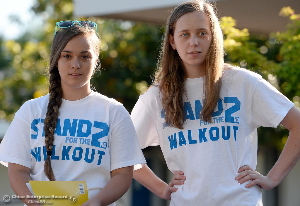 ". PVHS Sophomores Mackenna Jarvis and Natasha Vose left to right, discuss their feelings on our 2nd Amendment rights in front of Pleasant Valley High School in Chico, Calif. during a ""Stand for the 2nd Walkout\"" gathering before school Wednesday May 2. 2018. (Bill Husa -- Enterprise-Record)"