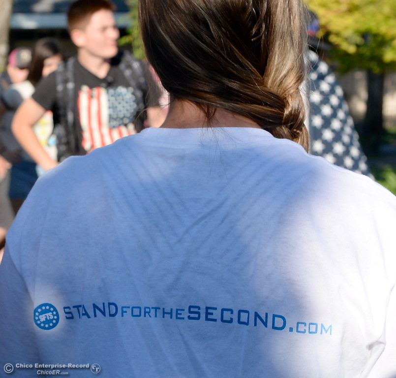 ". A t-shirt with a STFS standforthesecond.com logo is seen as a group of students gather to discuss their feelings on their 2nd Amendment rights in front of Pleasant Valley High School in Chico, Calif. during a ""Stand for the 2nd Walkout\"" gathering Wednesday May 2. 2018. (Bill Husa -- Enterprise-Record)"