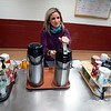 BEN GARVER — THE BERKSHIRE EAGLE<br /> Richmond Consolidated School nurse, Cristina Lenfest greets the kitchen staff and grabs some coffee, Tuesday February 6, 2019. 9:53 am