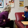 BEN GARVER — THE BERKSHIRE EAGLE<br /> Matthew Peck come back to visit Richmond Consolidated School nurse, Cristina Lenfest about his  splinter, Tuesday February 6, 2019. 10:47am