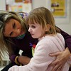 BEN GARVER — THE BERKSHIRE EAGLE<br /> Richmond Consolidated School nurse, Cristina Lenfest comforts Riley Orth after a scraped knee, age 7, Tuesday February 6, 2019. 11:20am