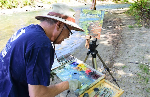 Artist paints at Hoosic River - 051418