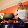 BEN GARVER — THE BERKSHIRE EAGLE<br /> Christie Kaiser and her son Jeremiah, age 3, check out a virtual reality exhibit at the Berkshire Museum in the Curiosity Incubator, Wednesday, January 23, 2019.