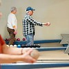 BEN GARVER — THE BERKSHIRE EAGLE<br /> Jon Ahlen lines up a shot at Candle Lanes in Pittsfield.  Monday morning is the time the senior league plays at the lanes.