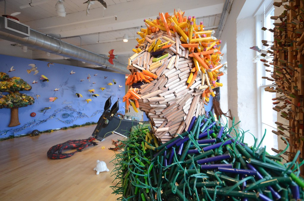 . In \'Here Comes the Sun,\' Federico Uribe\'s menagerie of sculptured animals includes a man whose head is made out of small pencils. Wednesday August 3, 2016. Gillian Jones � The Berkshire Eagle | photos.berkshireeagle.com