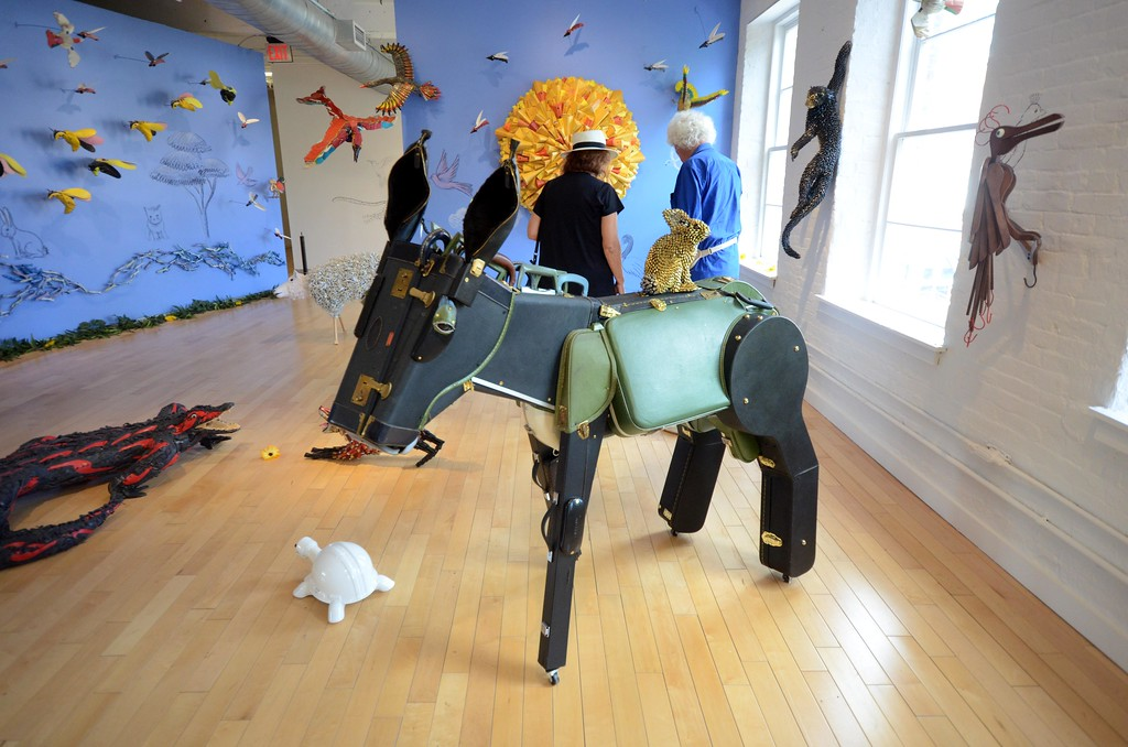 . Federico Uribe\'s menageries of sculptured animals include a donkey make out of luggage and musical instrument cases, and a turtle made out of a construction hardhat. Wednesday August 3, 2016. Gillian Jones � The Berkshire Eagle | photos.berkshireeagle.com