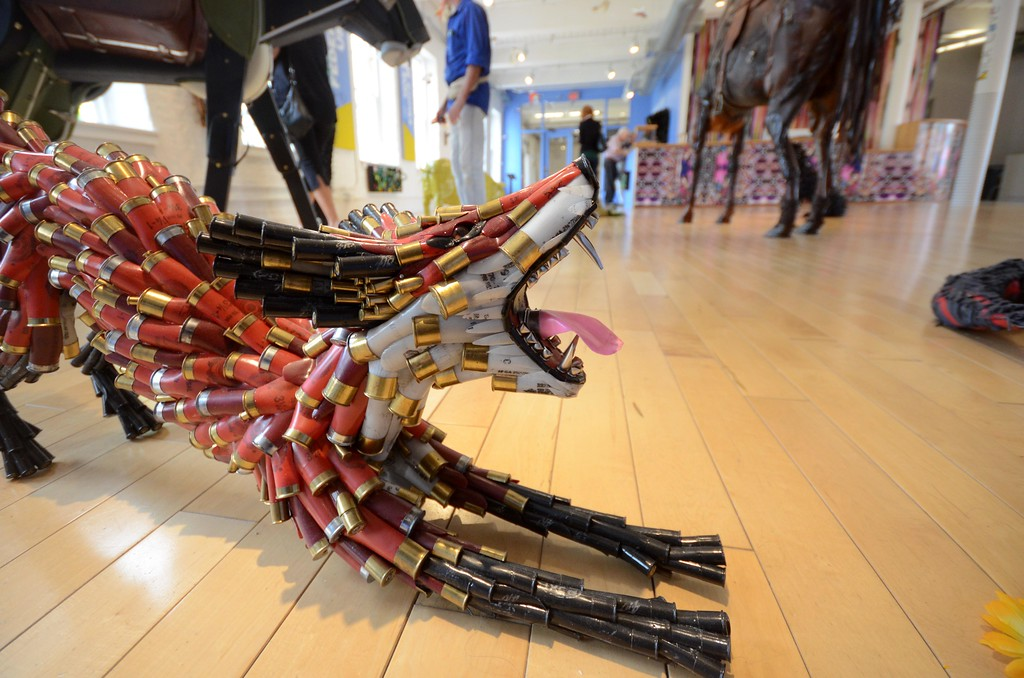 . In \'Here Comes the Sun,\' Federico Uribe\'s menagerie of sculptured animals includes a fox made out of bullets. Wednesday August 3, 2016. Gillian Jones � The Berkshire Eagle | photos.berkshireeagle.com