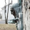 BEN GARVER — THE BERKSHIRE EAGLE<br /> The Indian Fountain next to TownHall in New Lebanon is a tribute to the sharing of Lebanon Springs by Mohicans with the people who settled the region.