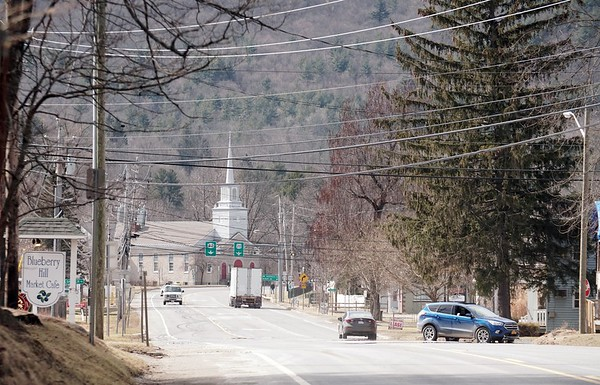 BEN GARVER — THE BERKSHIRE EAGLE<br /> New Lebanon is a crossroads between the Berkshires and New York. New Lebanon Congregational Church in the background.