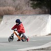 BEN GARVER — THE BERKSHIRE EAGLE<br /> Jack Wendt, 3, learns to balance on a push bike in the Stockbridge Skate Park.