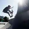 BEN GARVER — THE BERKSHIRE EAGLE<br /> John Ringer Jr. takes a turn on the half-pipe at the skate park on Appleton Ave., Monday September 16, 2019.