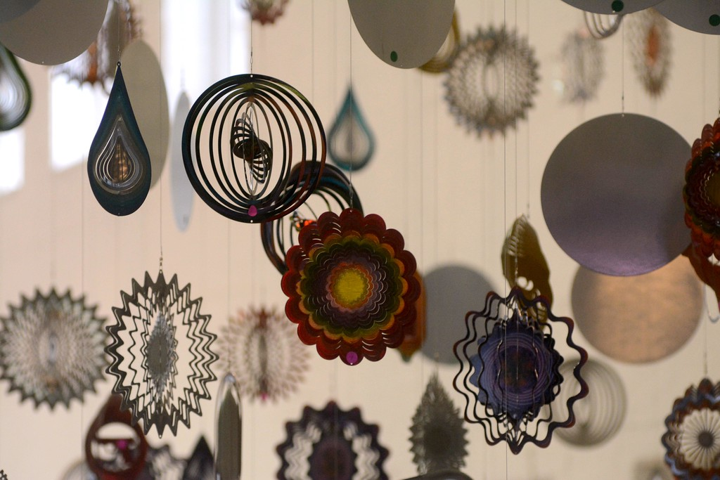 . Some of the thousands of ornaments hanging from the ceiling for Nick Cave\'s installation of his work \'Until\' which will be on display in Building 5\'s football field size gallery at Mass MoCA starting on October 15. Tuesday, October 4, 2016. Gillian Jones � The Berkshire Eagle | photos.berkshireeagle.com