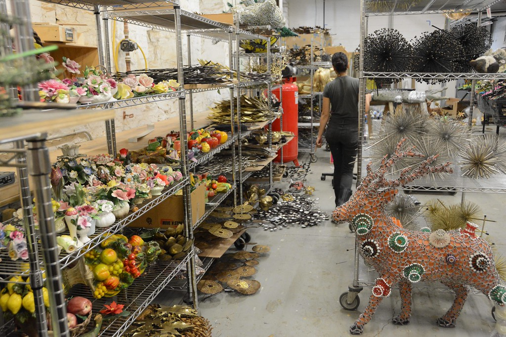 . A menagerie of ceramic figurines, and other elements, cover the shelves in the fabrication shop at Mass MoCA where Nick Cave\'s next exhibition \'Until\' is being created. The exhibit will transform the Building 5 Gallery at Mass MoCA in October of 2016. The entire piece is being fabricated at Mass MoCA and will be the biggest to date.  Wednesday August 3, 2016. Gillian Jones � The Berkshire Eagle | photos.berkshireeagle.com