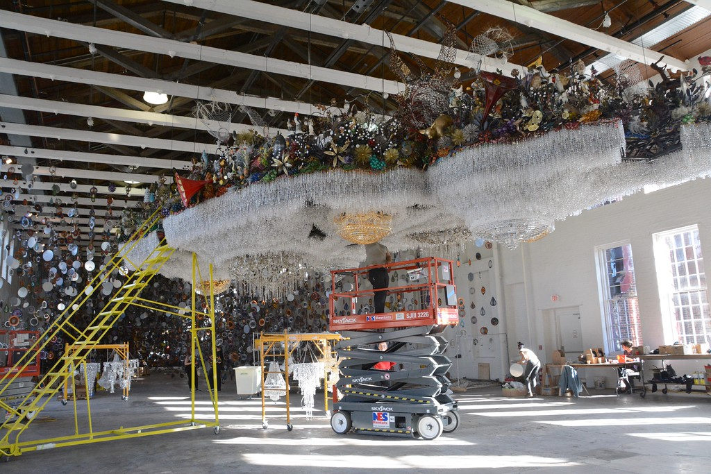 . A view from below of the bottom half of the cloud in Nick Cave\'s \'Until\' which will be on display in the football size gallery at Mass MoCA starting on October 15. Able visitors will be invited to climb stairs to view the top of the cloud. Tuesday, October 4, 2016. Gillian Jones � The Berkshire Eagle | photos.berkshireeagle.com