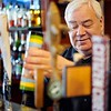 BEN GARVER — THE BERKSHIRE EAGLE<br /> Paul Ruscio, bar manager at Rainbow Restaurant in Pittsfield pulls a draught beer.