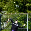 BEN GARVER — THE BERKSHIRE EAGLE<br /> Brian Lovino of Pittsfield plays in a Division I Tournament against Chicopee at Herberg Middle School in Pittsfield, Monday, June 3, 2019.