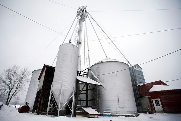 BEN GARVER — THE BERKSHIRE EAGLE<br /> This is what the feed mill looks like from the outside. <br /> Rob Pecor mixes and bags a ton of chicken feed at Wirtes Farm in Lanesborough. The one ton batch is made from corn, soy and molasses.  The farm mixes feed for a variety of livestock.