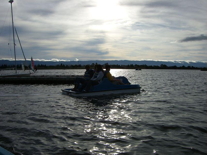 Leah Machen, Rob Majors, Esther Kang, & David Chiang's boat against sunset