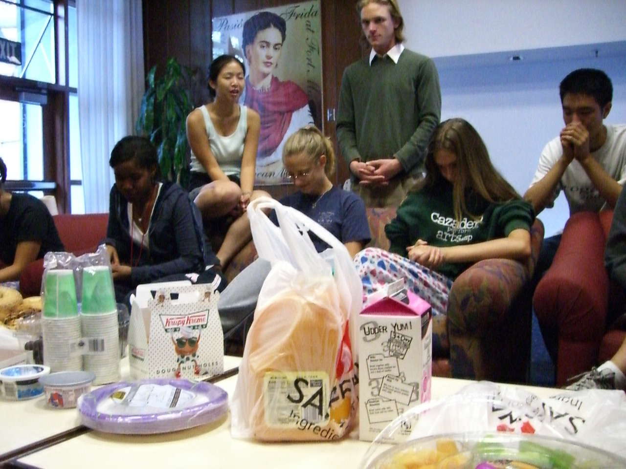 The Food - Saying Grace - Hey I was praying too, but why is The Real Ben Savage looking at the camera?!? :D