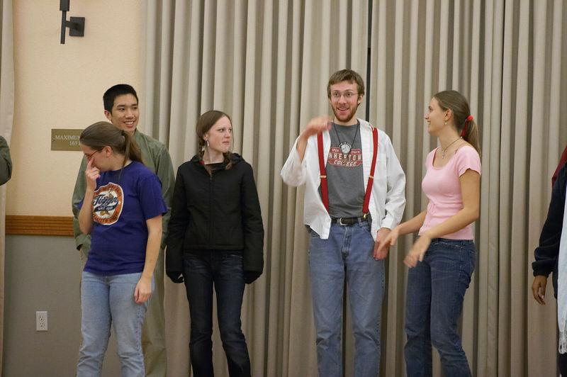 2005 12 09 Fri - Late night rehearsal 27 - Joyful Joyful 14 - Jenna Sloat, Michael Lin, Emily Dalton, Rob Majors, & Allie Dunworth