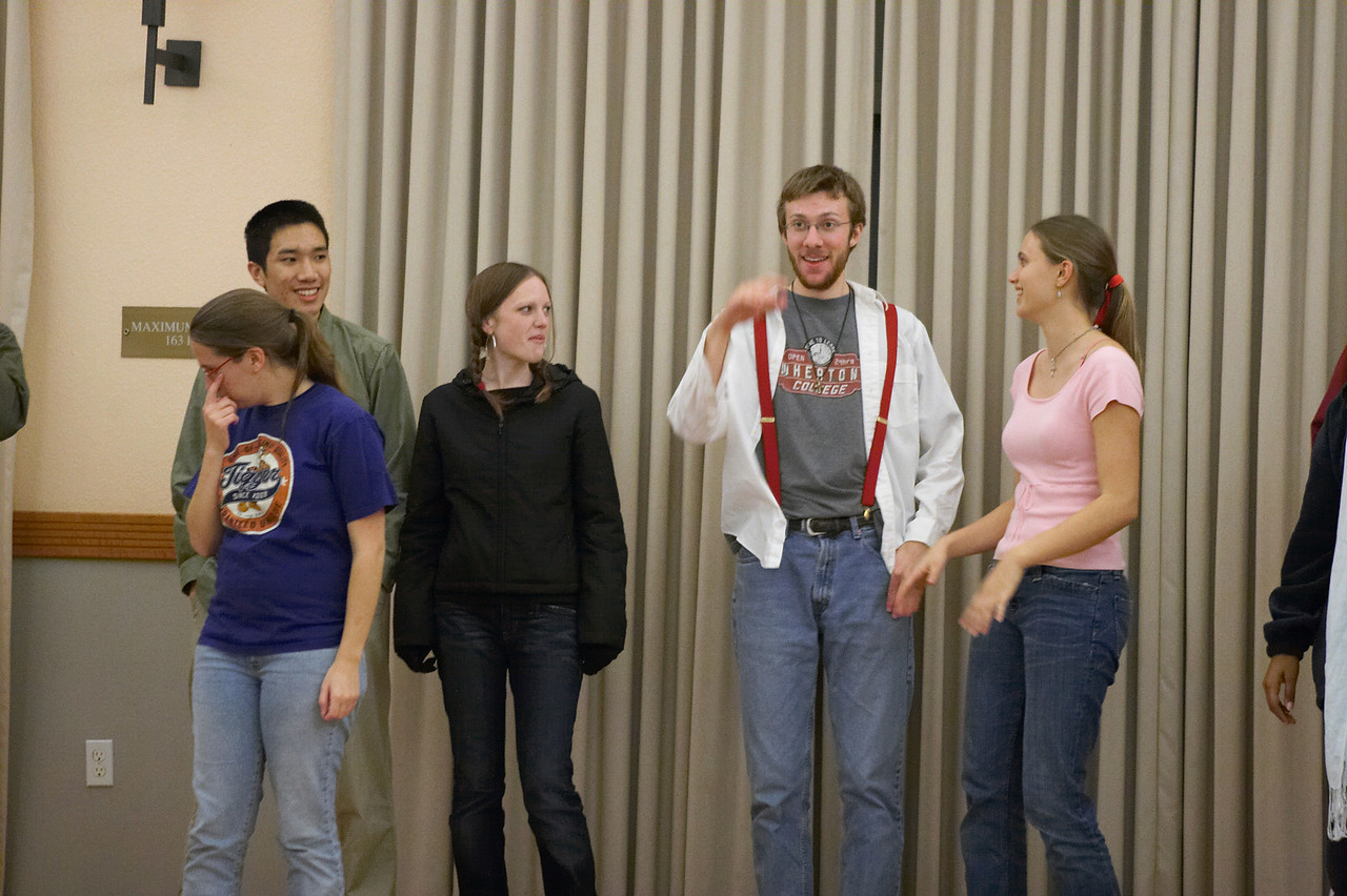 2005 12 09 Fri - Late night rehearsal 27 - Joyful Joyful 14 - Jenna Sloat, Michael Lin, Emily Dalton, Rob Majors, & Allie Dunworth