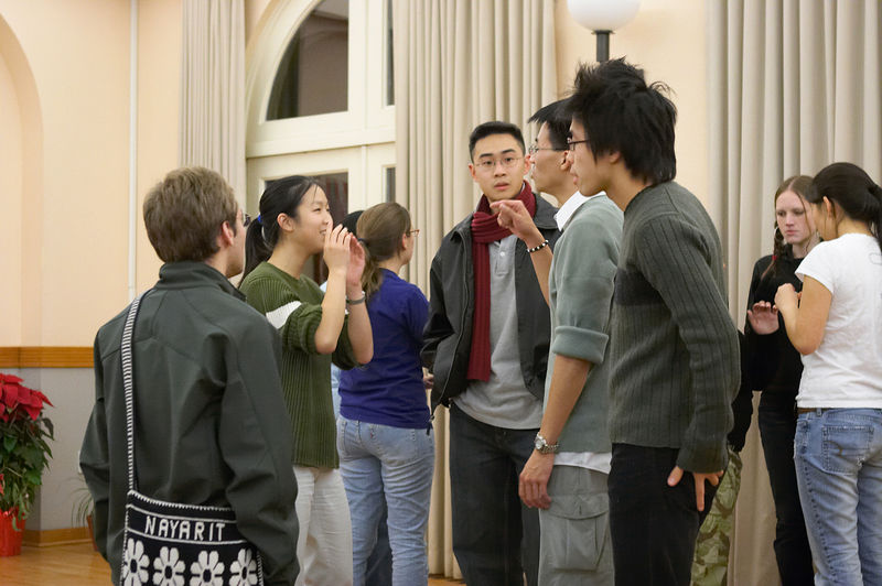 2005 12 09 Fri - Late night rehearsal 10 - David Scudder, Jenny Alyono, Poon, Yu, & Hyungsoo Kim 1