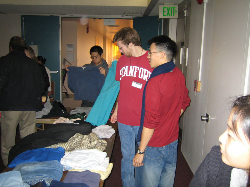 James Lee's pics - David Chiang checks out the selection, Rob Majors ignores Ben Yu @ Lake Ave Church homeless dinner