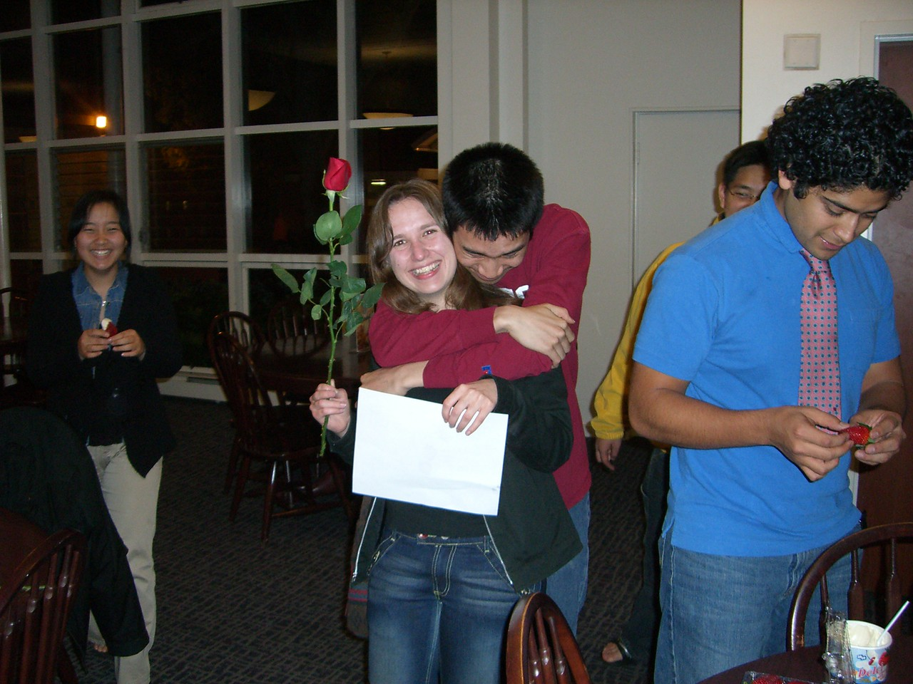 2006 02 13 Mon - Michael Lin embraces Jenna Sloat