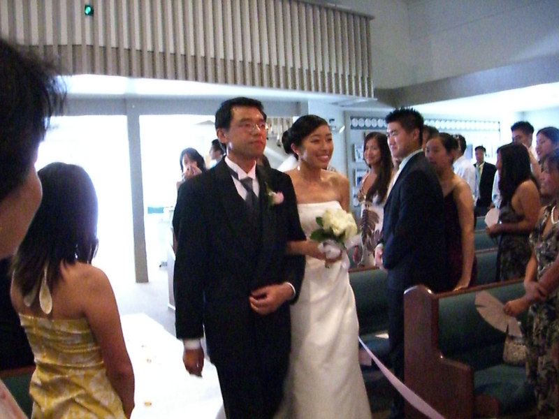 2006 06 24 Sat - Daddy Tam walking Bride Tam down the aisle to become a Poon