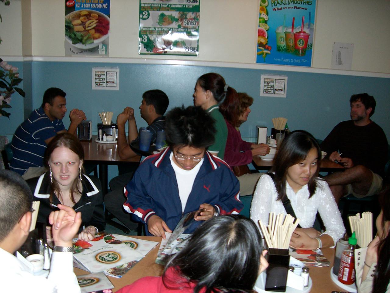 2005 10 22 Sat - Emily Dalton fries David with laser sight, track-star Hyungsoo Kim, evil-eye Esther Kang