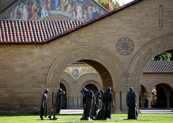 Stanford University, Memorial Court, Rodin sculptures,