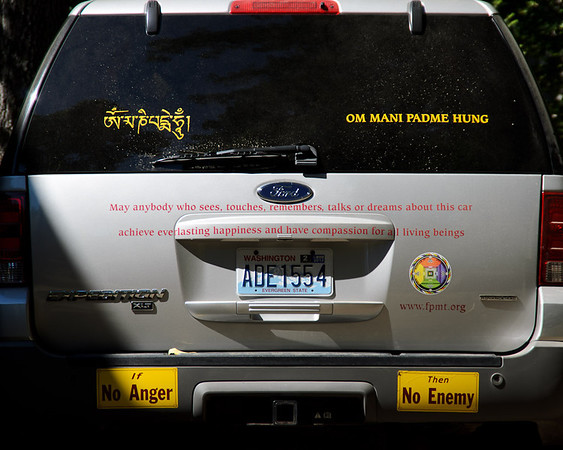 The back of Lama Zopa Rinpoche's car