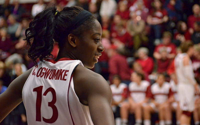 Chiney Ogwumike waits to inbound the ball at the start of the second half.