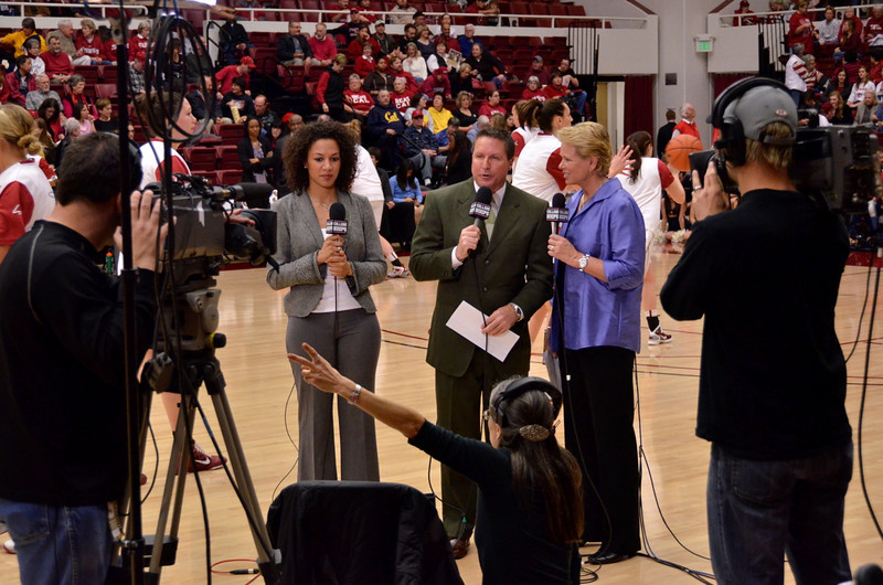 Ros with Ann Meyers and Jim Watson doing a pregame standup (which wasn't aired because a men's game ran overtime).