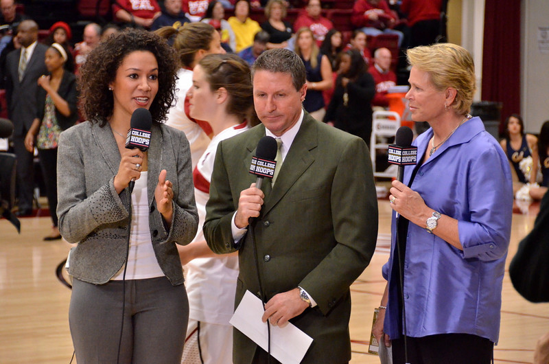 Ros with Ann Meyers and Jim Watson doing a pregame standup (which wasn't broadcast).
