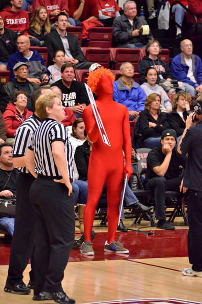 Strange red fan from student section is contestant in the trivia quiz.