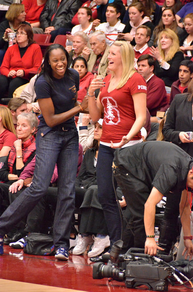 Tina Charles and Jayne Appel joked at halftime.